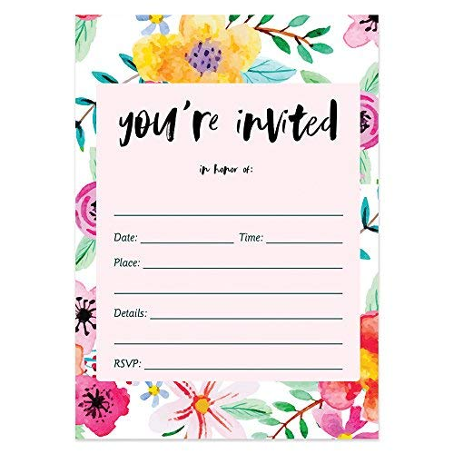 50 Fill In Invitations with Envelopes (Pack of 50) Tropical Birthday Invitations Rehearsal Dinner Invitations Excellent Value Bridal Shower Invitations VI0009 ()