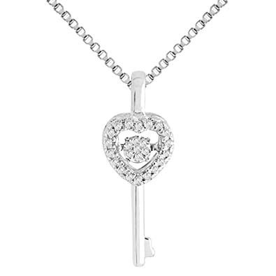 11c209921 Amazon.com: Diamond Necklace in Sterling Silver 1/10 cttw: Jewelry