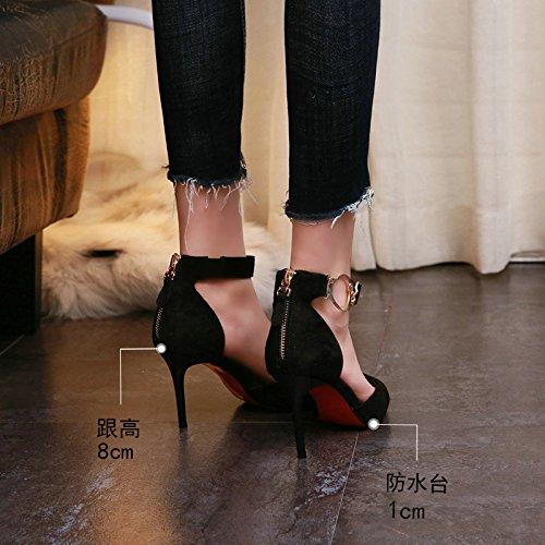 tacón Negro de Sexy Aguja Moda de de YMFIE B Alto Tacones Verano Primavera de y Zapatos Gamuza de q6RyEwCyxp