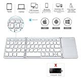 Folding Bluetooth Keyboard, Jelly Comb Rechargeable Portable BT Wireless Foldable Mini Keyboard with Touchpad for Tablet Samsung or Other Cell Phones (Silver)