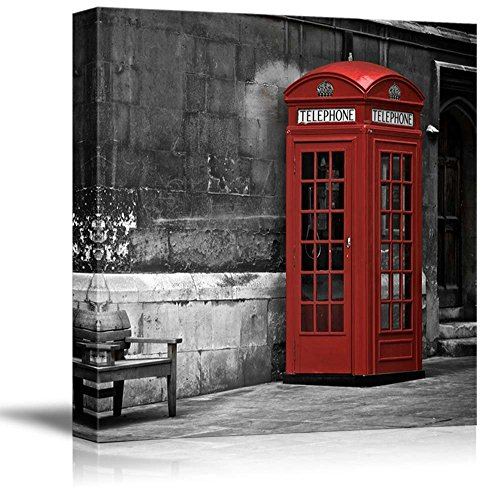 Black and White Photograph with Pop of Red on the Telephone Booth