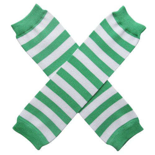 [Halloween Costume Spooky Styles Holiday Leg Warmers - One Size - Baby, Toddler, Girl (Strawberry Shortcake - Green & White] (Strawberry Halloween Costumes)
