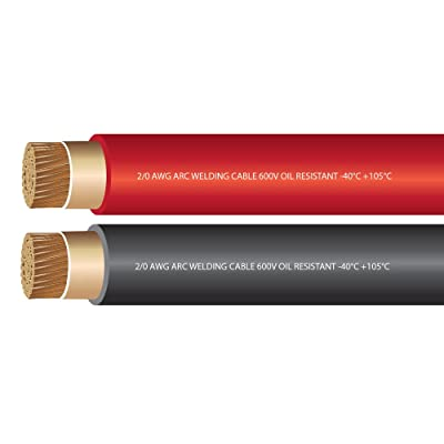 EWCS 2/0 Gauge Premium Extra Flexible Welding Cable 600 Volt - Combo Pack - Black+Red- 15 Feet of Each Color - Made in the USA