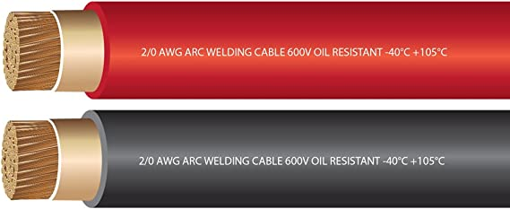 2//0 Gauge Torbon X 100/% Copper Premium Industrial Grade Extra Flexible Welding Cable 600 Volt 25 Feet Red