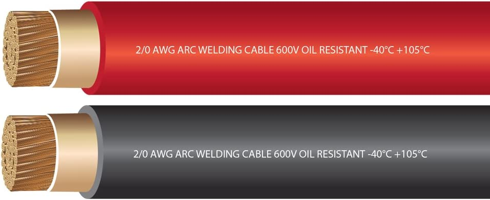 EWCS Branded 4//0 Gauge Premium Extra Flexible Welding Cable 600 VOLT 25 FEET Made in the USA! RED