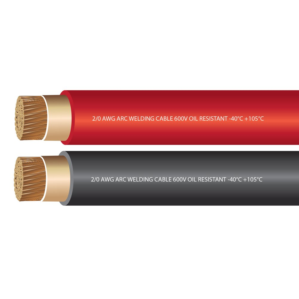2/0 Gauge Premium Extra Flexible Welding Cable 600 Volt - EWCS Branded - COMBO PACK - BLACK+RED - 25 FEET OF EACH COLOR - Made in the USA! by EWCS