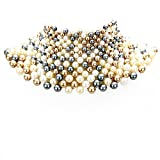 Sensibling Egyptian Pearl Armor Bib Choker Chain Style Statement Necklace (MULTI)