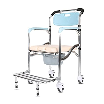 Flashing FL- Silla Plegable Old Man Wheeled Commode/Over Toilet Silla con Asiento Acolchado