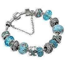 A TE® Bracelet Charms Femmes Cristal Verre Bleu Charms Métal Cadeau #JW-B94
