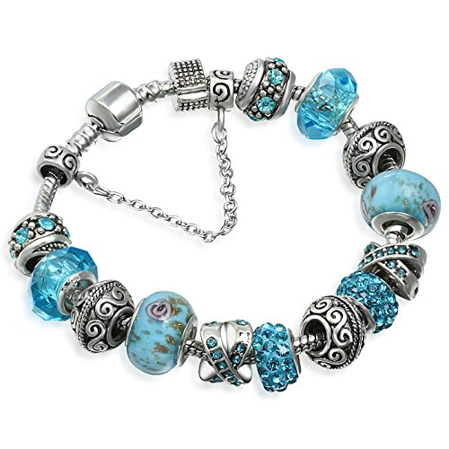 A TE Charm Bracelet with Crystal and Murano Glass Flower Beads for Women B9496 Blue