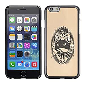 Planetar® ( Skull Bones Cat Tattoo Beige Black ) Apple iPhone 6 / 6S (4.7 inches!!!) Fundas Cover Cubre Hard Case Cover