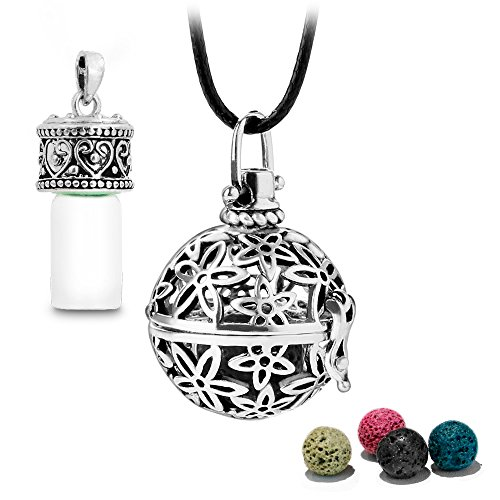 Price comparison product image Antique Silver Aromatherapy Essential Oil Diffuser Necklace Diffuser Pendant & Bottle with 1 Dropper,  4 Multi-Colored Lava Stones,  24 Inches Adjustable Long Wax Rope