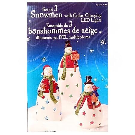 Juego de 3 muñecos de nieve con luces led de color cambiante ...