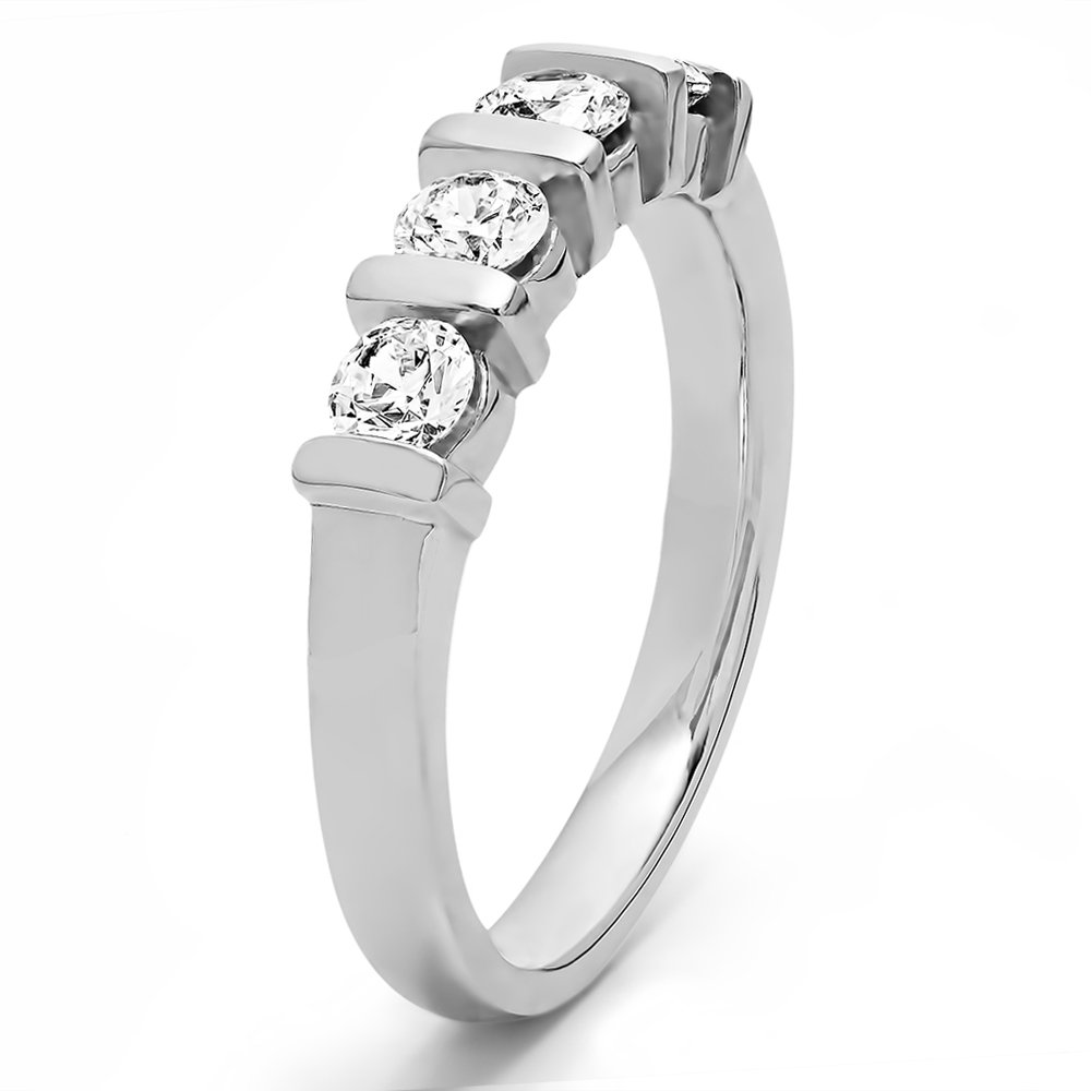 Size 3 To 15 1//4 Size Interval Yellow Plated Silver CZ 1 CT Four Stone Bar Set Wedding Ring