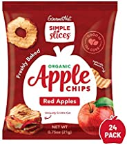 Gourmet Nut Simple Slices Organic Baked Apple Chips, USA Grown Apples, No Added Sugar, Red Apples, .75oz (Pack
