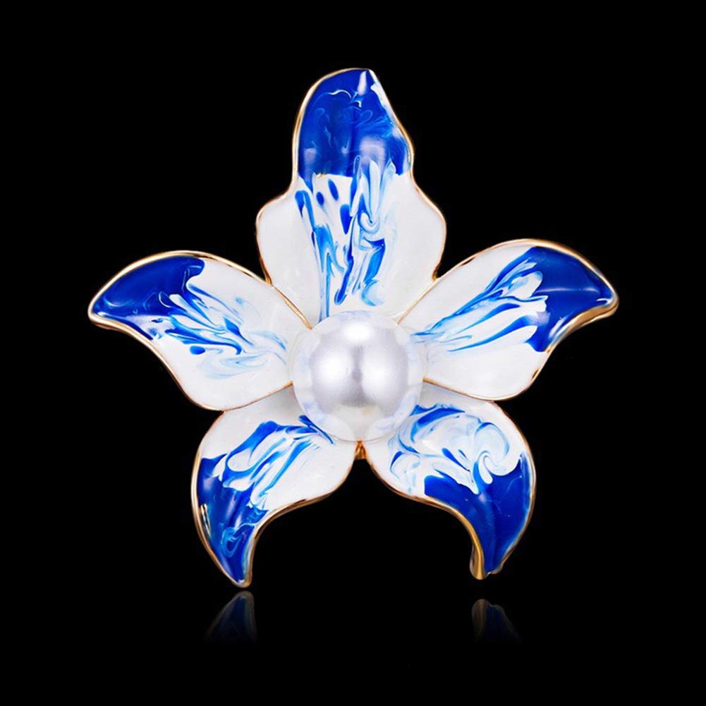 Fashion Gold Plated Pearls Floral Brooch Lapel Pin for Women Girl Bridal Wedding Corsage Jewelry Gifts AILUOR Elegant Enamel Plum Blossom Flower Brooch Pin
