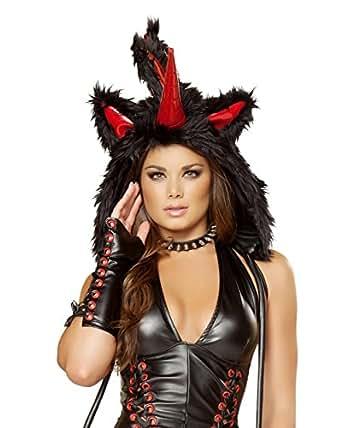 iHeartRaves Unicorn Rave Spirit Fluffy Furry Hood (Black)