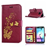 MOONCASE Galaxy S6 Edge Case, Bronzing Butterfly Pu Leather Wallet Pouch Etui Flip Kickstand Case Cover for Samsung Galaxy S6 Edge Bookstyle Folio [Shock Absorbent] TPU Case with Photo Frame Burgundy