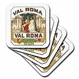 3dRose cst_170120_2 Val Roma Havana De Luxe Vintage Cuban Cigar Label Reproduction-Soft Coasters, Set of 8