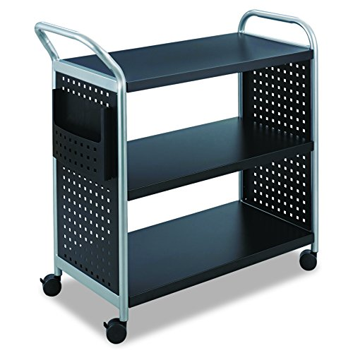 Safco Products 5339BL Scoot Steel Utility Cart, 3 Shelf, Silver/Black
