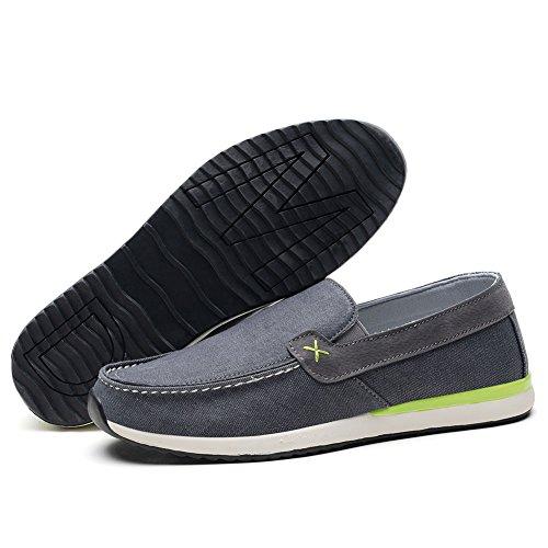 Tiosebon Mens Mocassini Scarpe Di Tela Comfort Driving Shoes Casual Slip On Walking Sneakers 8307 Grigio