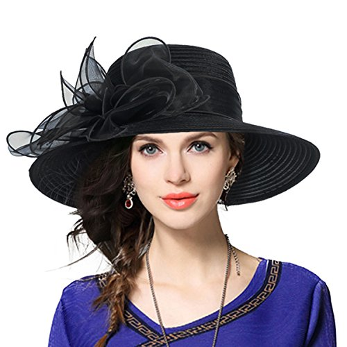 Dress Church Hat Hat - Kentucky Derby Church Dress Hat Wide Brim Leaf Flower Bridal Shower Hat (Black)
