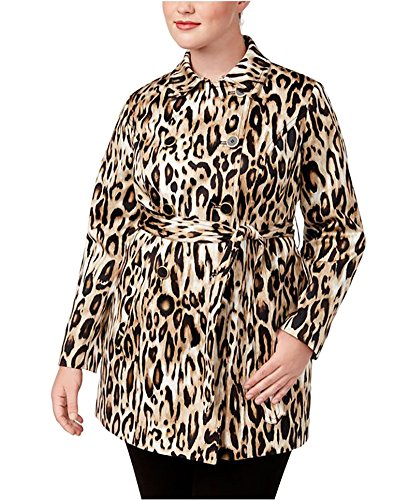 ncepts Plus Size Animal-Print Trench Coat (1X) (Animal Print Trench Coat)