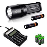 FENIX TK35 Ultimate Edition 2015 version (TK35UE) 2000 Lumen CREE XHP 50 LED Tactical Flashlight with 2 X Fenix ARB-L2S 3400mAh 18650 Li-ion rechargeable batteries, Fenix ARE-C2 advanced digital battery charger, 4 X EdisonBright CR123A Lithium batteries, Holster & Lanyard bundle by EdisonBright