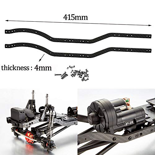 2Pcs Carbon Fiber Chassis Frame Rails for 1/10 Axial SCX10 RC Rock Crawler Car