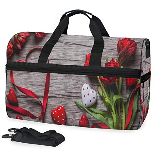 Duffle Bag Valentines Day Background With Chocolates Hearts And Red Tulips Gym Bag with Shoe Compartment Sport Bag for Men Women