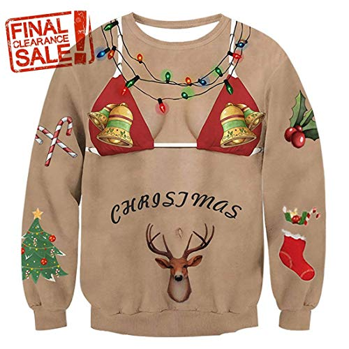 Unisex Hip Hop 3D Digital Printing Pullover Sweatshirts, Funny Design Pullover Sweater for Xmas Holiday Party XXL Khaki