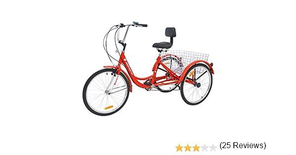 MOPHOTO Bicicleta de Tres Ruedas con Cesta Grande y Herramientas de Mantenimiento, Bicicleta de Crucero para Hombres y Mujeres, tamaño de Rueda de 24 Pulgadas: Amazon ...