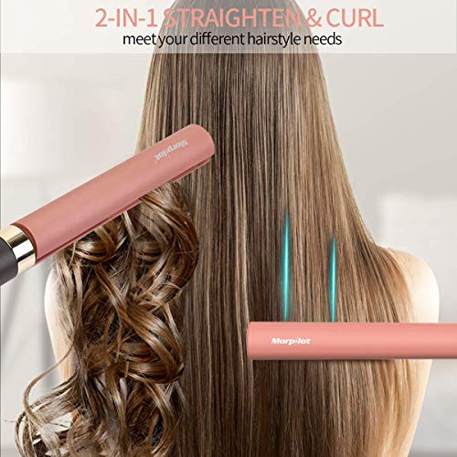 Hair Straightener,Professional Hair Straightener and Curler 2 In 1 Tourmaline Ceramic Flat Iron for All Hair Types With 12 Levels Adjustable Temperature,Salon High Heat 250℉-450℉,Dual Voltage