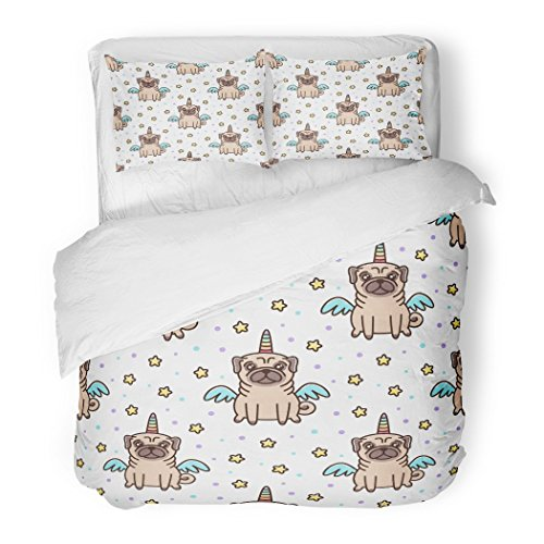 SanChic Duvet Cover Set Cute Dog of Pug Breed in Unicorn Costume Decorative Bedding Set with Pillow Case Twin -