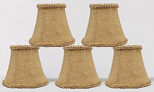 Urbanest 1100459b Chandelier Mini Lamp Shades 5-inch, Bell, Clip On, Burlap (Set of - Country Chandelier Shades French