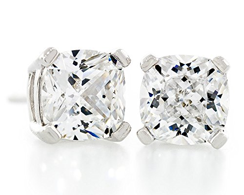 Acacia Jewelry 2.00 Carat (ctw) Cushion Shape Radiant Diamond Cut Crystal White 5.5x5.5mm Crystal CZ 925 Sterling Silver Heavy Mounting Stud Earrings Rhodium Plated