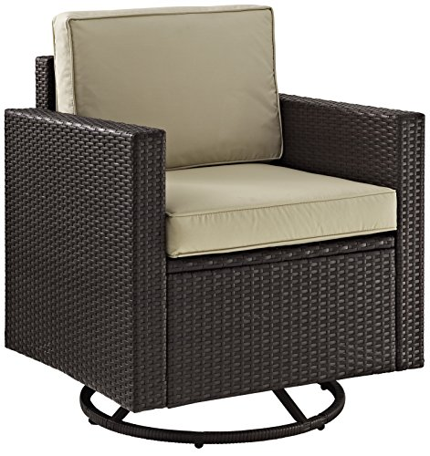 Crosley Furniture Palm Harbor Outdoor Wicker Swivel Rocker Chair with Sand Cushions - Brown