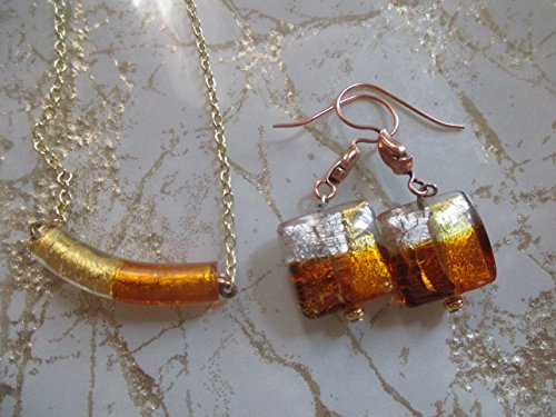 Autumn Murano Glass Curved Tube Glass Necklace Fall Jewelry Harvest Necklace ()