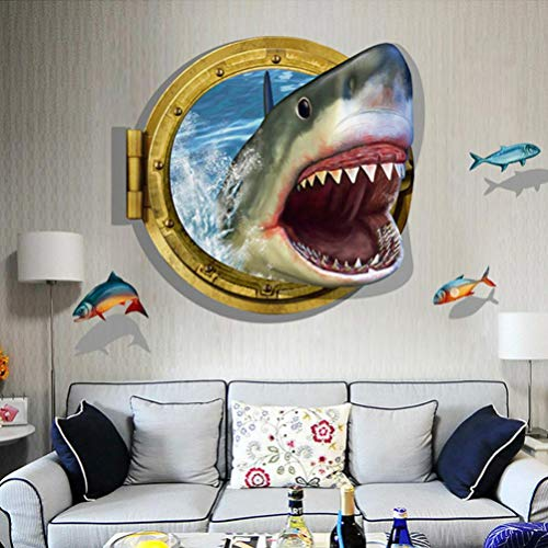 JHKUNO Wall Décor Stickers, 3D Shark Background Wall Decoration Removable Wall Stickers (A)