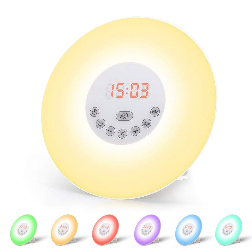Wecker Wake Up Light Lichtwecker, mit 7 Wecktöne (inkl. 2Naturklänge und FM), 7Farben, 10Dimmstufen, Sonnenaufgangssimulator, Nachtlicht mit Adapter, Wecker für Kinder Erwachsene(Neue Version) product image
