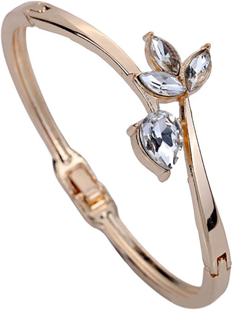 Amesii Pulsera de mujer chapada en oro rosa con diamantes de imitación incrustados, diseño de flor
