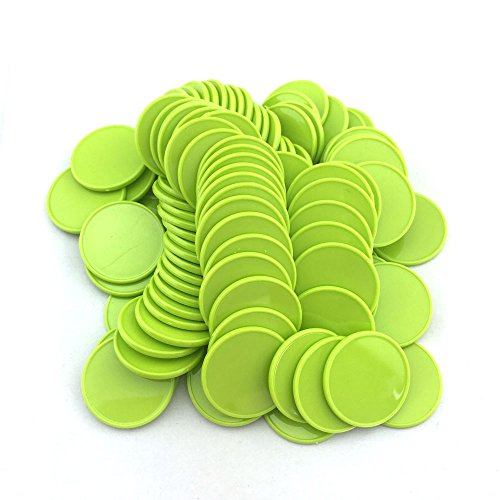 (Smartdealspro Set of 100 1 Inch Opaque Plastic Learning Counters Mini Poker Chips Game Tokens with Storage Box (Light Green))
