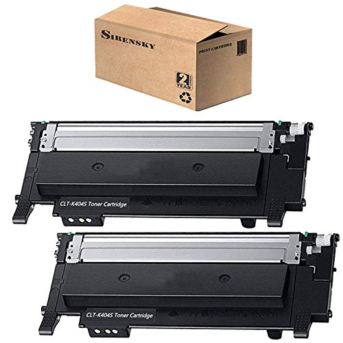 CLT-K404S Toner Cartridge Black 2 Pack Compatible for Samsung 404 404S K404S Toner, use in Xpress C430W C480FW Laser Printer, Sirensky ()