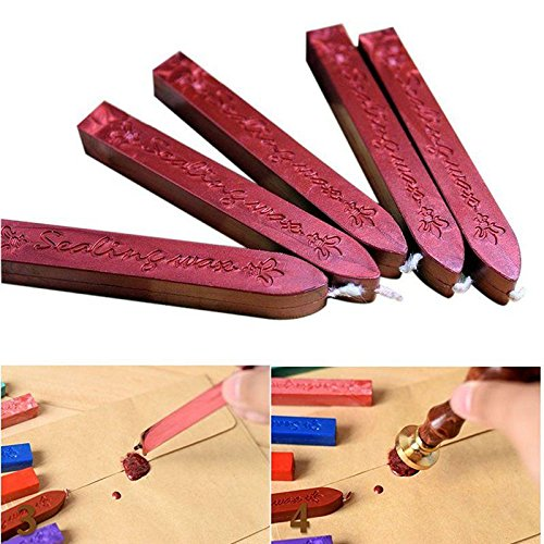 5 PCS Antique Manuscript Sealing Seal Wax Sticks Wicks For Postage Letter Retro Vintage Wax Seal Stamp,wine Red from Aolvo