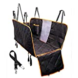 Dog Seat Cover With Side Flaps - Dog Viewing Window - Hammock Large Pet Back Seat Cover for Cars - Trucks - SUV - Non slip Waterproof Tinsin (Large with Side Flaps and Mesh Window - Black with orange)
