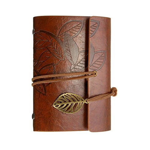 Leather Writing Journal Diary Notebook, Alloyseed A6 Vintage PU Leather Cover Loose Leaf Journals Sketchbook Travel to Write in, Unlined Paper, 6 Inches, (Brown) - Leather Photo Journal
