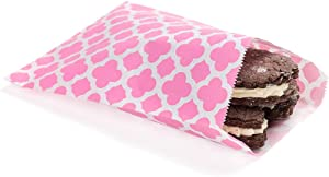 7 x 5 Inch Cookie Bags, 100 Biodegradable Paper Treat Bags - Use As Party Favors Or Candy Bags, Food Safe, Pink With Asian Monogram Paper Food Bags For Baked Goods, For Buffets Or Parties