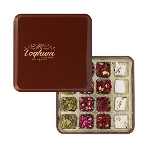 Loqhum Turkish Delight - Mix of 4 Flavors - Milk w/Powder Sugar & Honey w/Cut Pistachio and Pomegranate w/Rose Petals & Sour Raisins - Authentic Turkish Lokum in a Premium Tin Gift Box - 16 pcs
