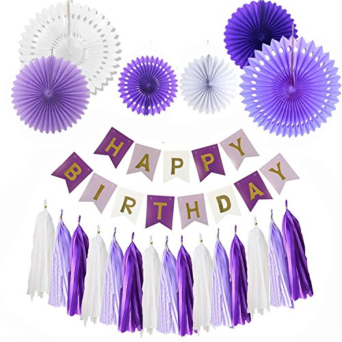 Sopeace 22pcs HAPPY BIRTHDAY BANNER Lavender Dark Purple Foiled Bunting Flag Garland,6pcs Paper Fans, Pack with 15 paper Tassels for DIY Happy Birthday Decorations