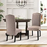 Cheap Merax Script Fabric Accent Chair Dining Room Chair with Solid Wood Legs, Set of 2 (Light Brown)